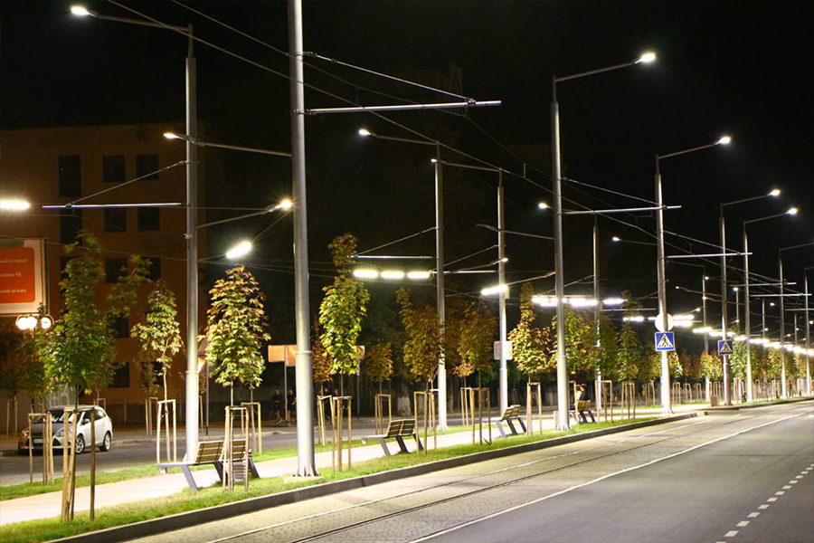 Reconstruction of the tram track lighting network, Zamostianska str., Vynnytsia.